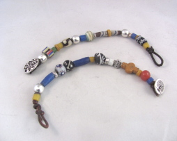 African beads and leather button bracelet