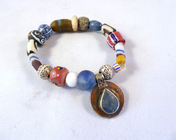 African bead with Nepalese charm bracelet