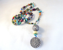 African bead/semi precious stone necklace with handmade sterling ornaments