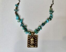 Turquoise necklace with charm